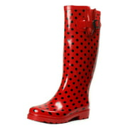 Ownshoe Women Rubber Red Polka Dots Mid Calf Wellies Color Dots Rainboots