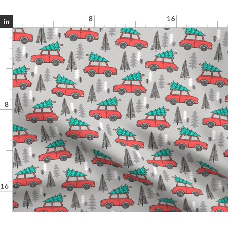 Woodland Christmas Car Tree Trees Holiday Xmas Fabric Printed by Spoonflower BTY ()