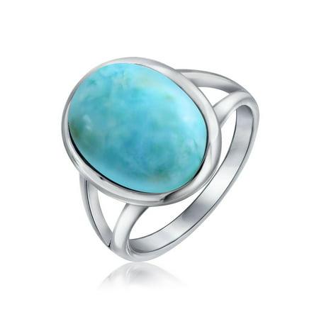 Simple Large Oval Bezel Boho Fashion Statement Blue Larimar Ring For Women For Teen Split Band 925 Sterling Silver