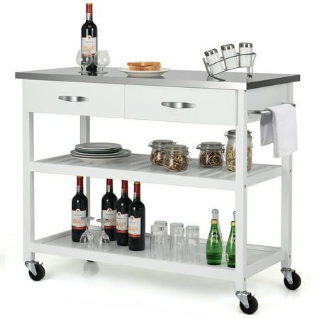 Block Top Kitchen Carts (Costway Rolling Kitchen Trolley Cart Island Stainless Steel Countertop w/ Drawer & Shelf)