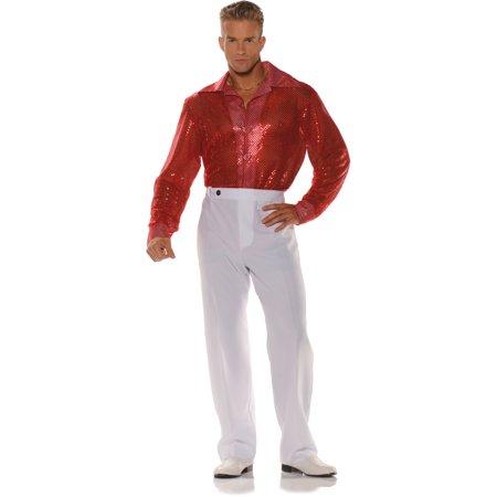 3919d885bc9004 Men's 70s Red Sequin Disco Costume Shirt - Walmart.com