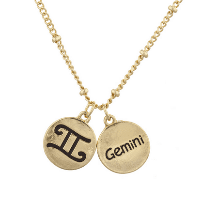 Lux Accessories Gold Tone Gemini and Astrological Sign Charm Necklace