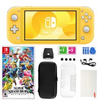 Nintendo Switch Lite in Yellow with Super Smash Bros. and Accessories 11 in 1 Accessories Kit