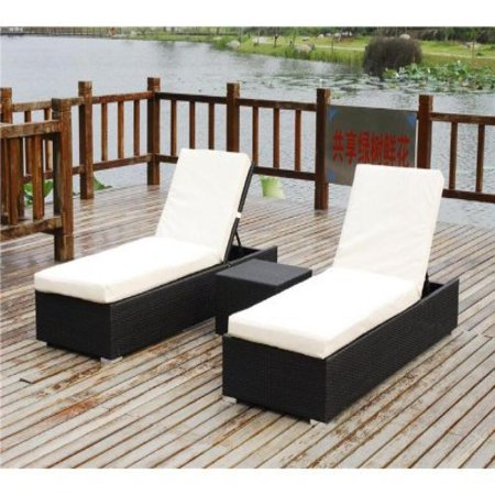 Belize 3 piece outdoor patio furniture chaise lounger set for Black outdoor wicker chaise