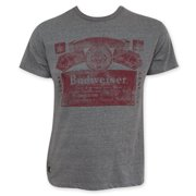 Budweiser Men's Gray Faded Red Label Pop Top Bottle Opener T-Shirt-Medium