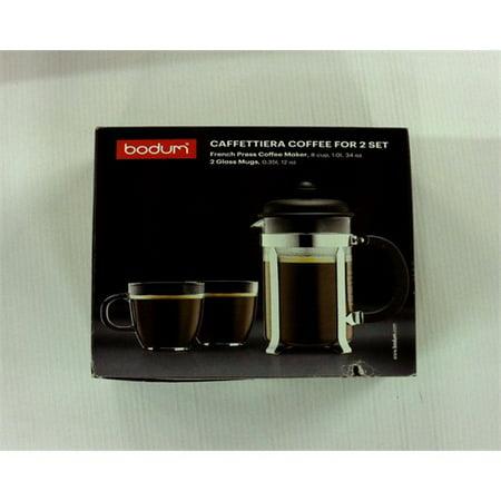 Bodum Caffettiera French Press Coffee Maker, 8 Cup, 1 Liter, 34oz with 2 Glass Mugs, 0.35 Liter, (Best French Press Coffee Mug)