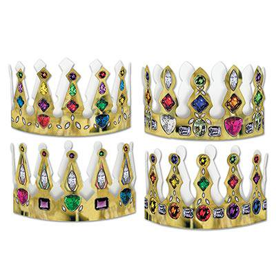 Club Pack of 96 Medieval Mardi Gras Jeweled Crown Party Favors 4