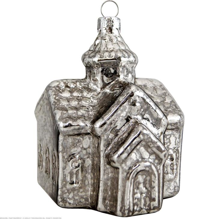 "House Antique Silver 5"" Glass Ornament"
