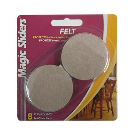 Magic Sliders 63003 Round Heavy Duty Self-Stick Felt Pad, Oatmeal, 2