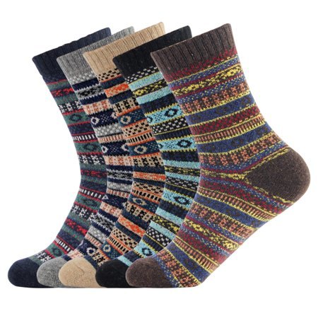 Men's Vintage Winter Wool and cotton Blend Crew Socks 4 Pairs/set