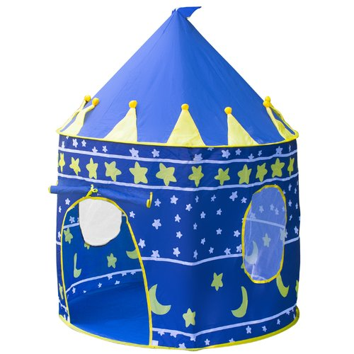 Matney Kids Playhouse Castle Tent with Portable Carry Bag and Foldable, Blue