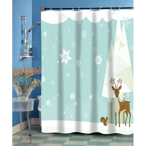 """Forest Friends"" Fabric Shower Curtain"