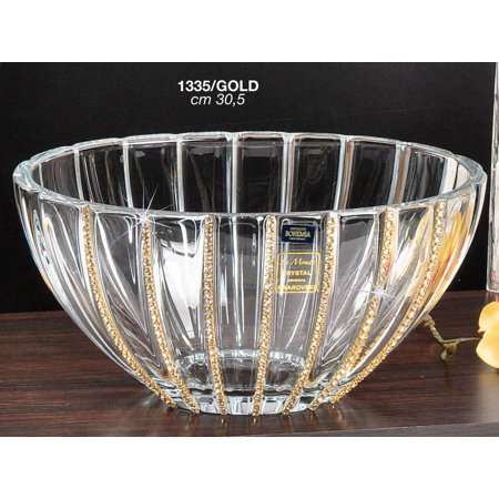 Italian Collection Crystal Bowl with Vertical Lines, Swarovski Crystal
