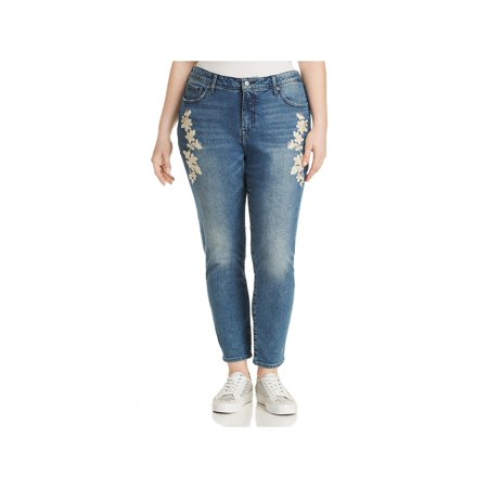 Lucky Brand Womens Plus Denim Embroidered Skinny Jeans Blue 16W