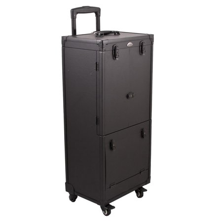 JUSTCASE Sunrise All Black Rolling Aluminum Makeup Case