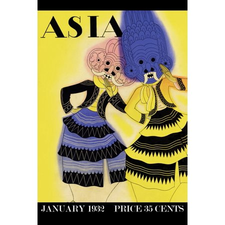 Art deco Cover art from the January 1932 Asia magazine showing two dancers in Thai masks Poster Print by Frank McIntosh (Asian Fabric Magazine)