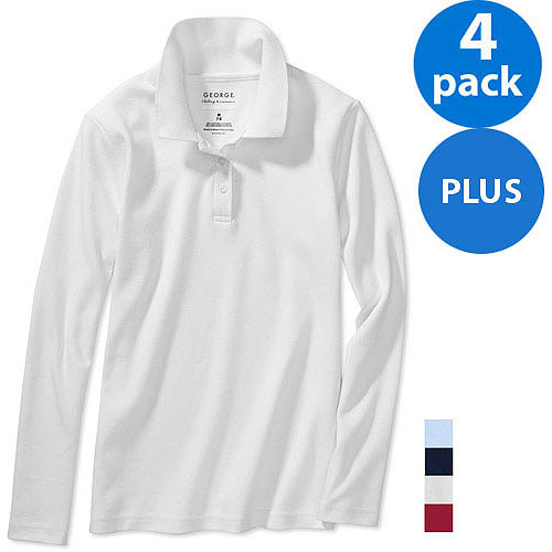 George Plus Size Girls School Uniforms Long-Sleeve Polo Shirts w Scotchgard, 4-Pack Value Bundle
