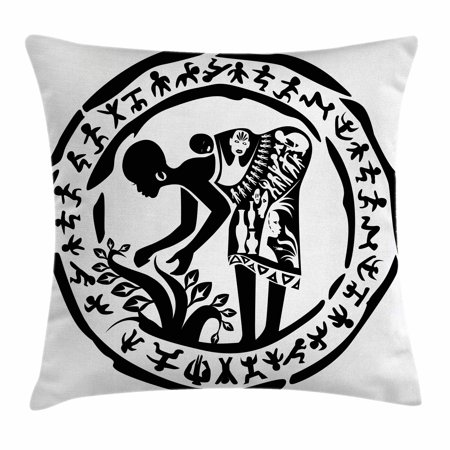 African Woman Throw Pillow Cushion Cover, Round Ring Shaped Frame with Tribal Woman Agriculture Prehistoric Art, Decorative Square Accent Pillow Case, 20 X 20 Inches, Black and White, by Ambesonne