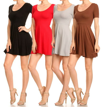 Fit N Flare Scooped Neck Short Sleeve Dress](Flair Dress)