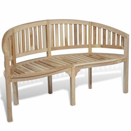 Patio Garden Teak Curved Banana Wooden Bench Chair Seat Outdoor 3-Seater