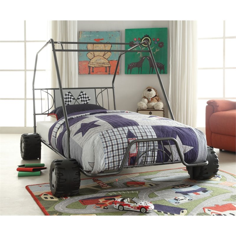 ACME Furniture Xander Go Kart Twin Bed in Gunmetal