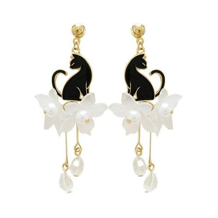 Black Pearl Dangle Earrings - Black Cat Earrings Flower Woman Dangle Crystal Pearl Style Jewelry, J-305-B