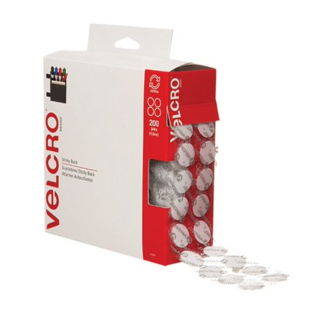 Velcro Dots Loop - Velcro VEL153 Hook and Loop Dot Tape Combo Pack, 3/4 Diameter, White Case of 200