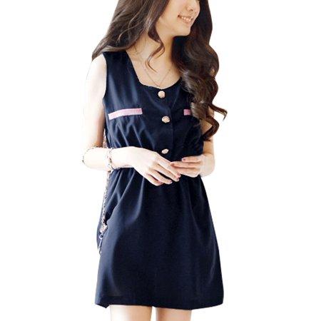 Lady Button Down Upper Semi Sheer Self Tie Strap Summer Mini Dress