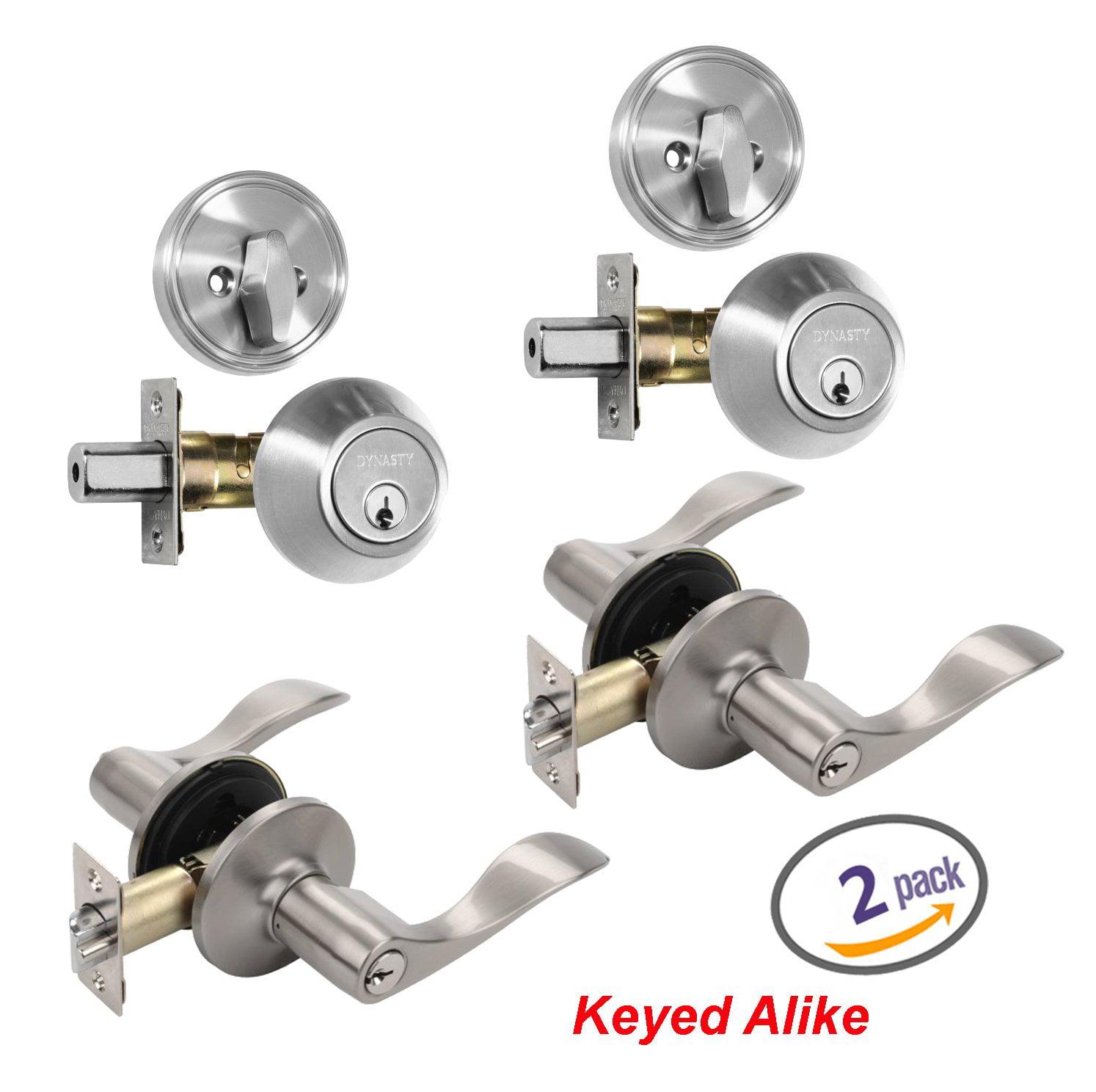 Dynasty Hardware V-CP-HER-US15 Satin Nickel Heritage Front Door Entry Lever Lockset and Single Cylinder Deadbolt Combination Set