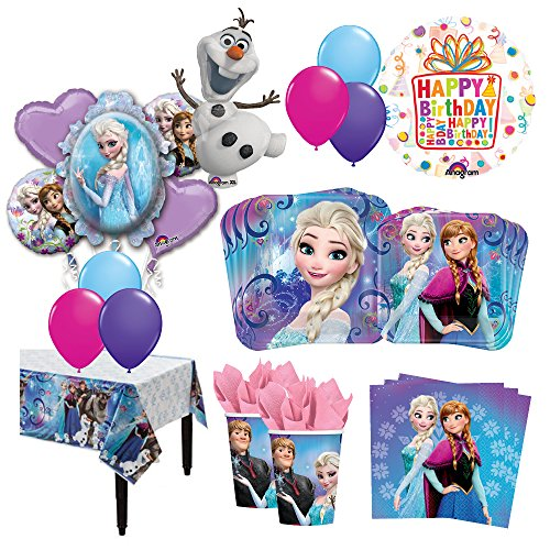 The Ultimate 16 Guest 95pc Frozen Olaf Anna Elsa Birthday Party Supplies and Balloon Decoration Kit