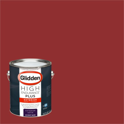 Glidden High Endurance Plus Exterior Paint and Primer, Raptured Red, #07YR 10/489