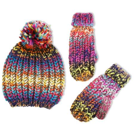 Girls Hat Set (Chunky Knit Winter Beanie Hat and Matching Cuffed Mitten Set, Big Girls)