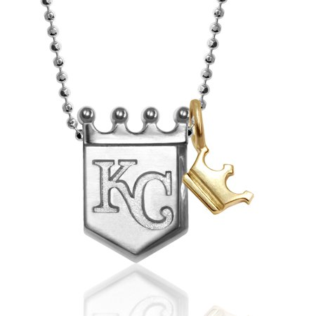 Kansas City Royals Jewelry (Kansas City Royals Alex Woo Women's Little MLB Sterling Silver Necklace with Mini Gold Crown Addition - No Size )