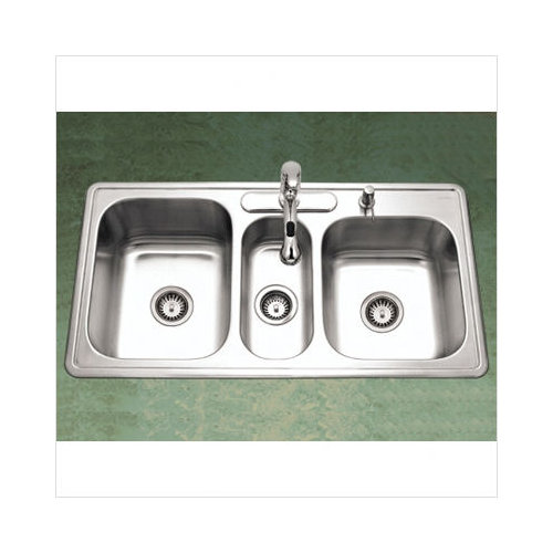 Bundle-95 Houzer Premiere Gourmet Topmount Triple Bowl Kitchen Sink in Satin (2 Pieces)