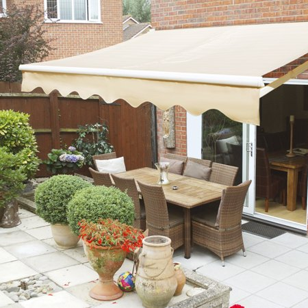 12x10 Manual Retractable Patio Awning Outdoor Sun Shade Canopy