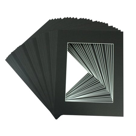 Logan Matboards - Mat Board Center, 11x14 Picture Mat Sets for 8x10 Photo. Includes a Pack of 25 Mats & 25  Board & 25 Clear Bags (BLACK)