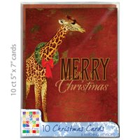 "Tree-Free Greetings Christmas Cards and Envelopes, Set of 10, 5 x 7"", Reach Giraffe Christmas Box Set"