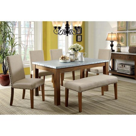 Furniture of America Workins Iron 6 Piece Dining Set with Bench