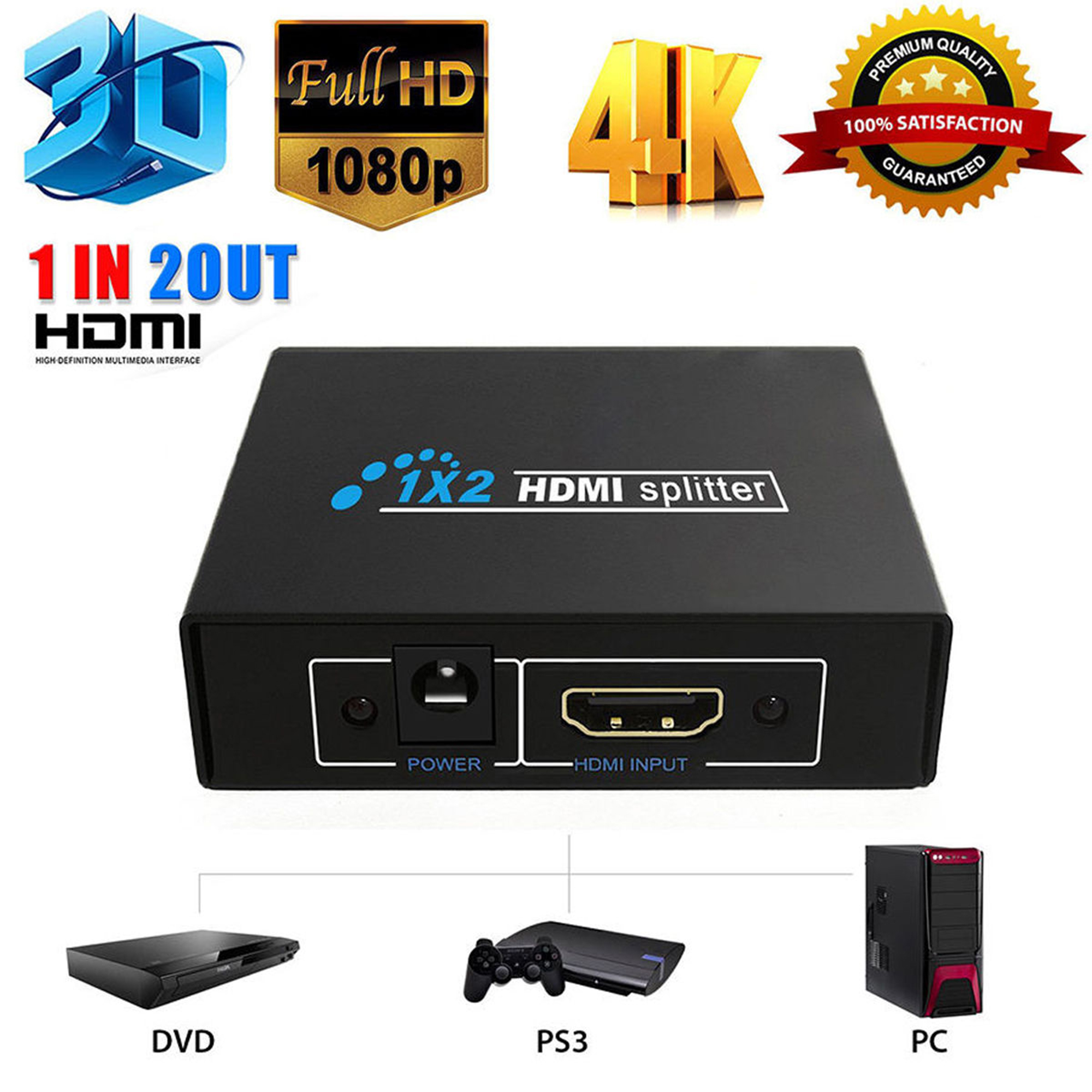 Ultra HD 4K 2 Port HDMI Splitter 1x2 Repeater Amplifier HUB 1080P 3D 1 In 2 Out Splitters