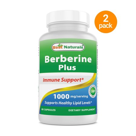 2 Pack - Best Naturals Berberine Plus 1000 mg per serving 60 Capsules - Berberine for  Healthy Blood Sugar Levels, Digestion & Immunity (Total 120