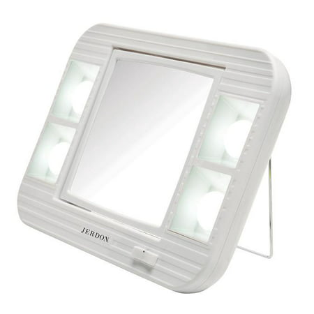 Jerdon J1015 LED Lighted Makeup Mirror with 5x Magnification, White Finish, 34.4 oz