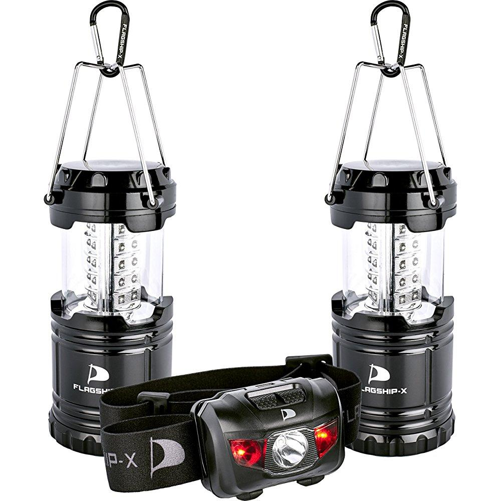 insane deal flagship-x 2 lanterns 1 headlamp camping ligh...