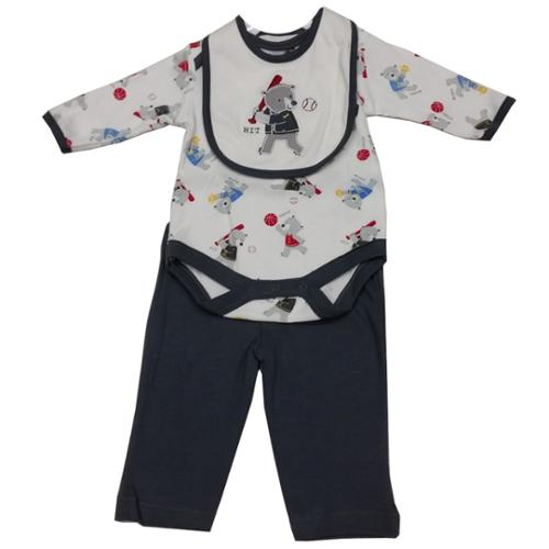 Bon Bebe Baby Boys White Grey Teddy Bear Print Bib Onesie 3 Pc Pant Set 3-9M