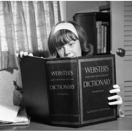 Girl Studying Websters Dictionary Canvas Art     24 X 36