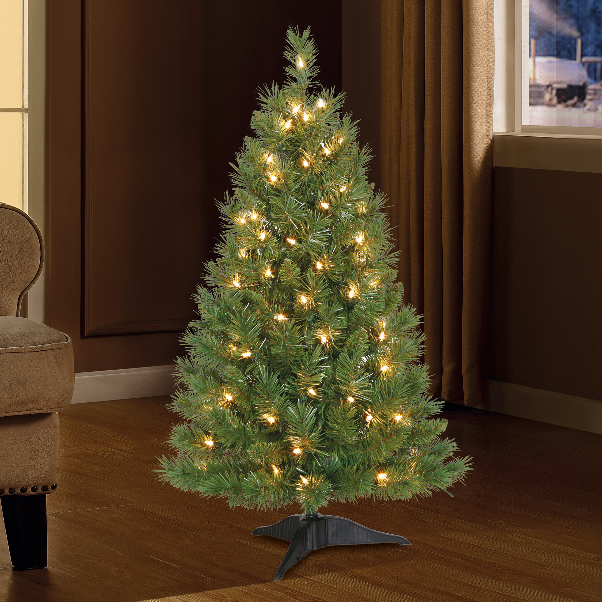 holiday time christmas tree 3ft pre lit with 70 clear lights green