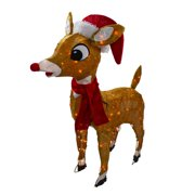 """Rudolph the Red Nosed Reindeer Christmas 32"""" Prelit Soft Tinsel Outdoor Decoration - Clear Lights"""