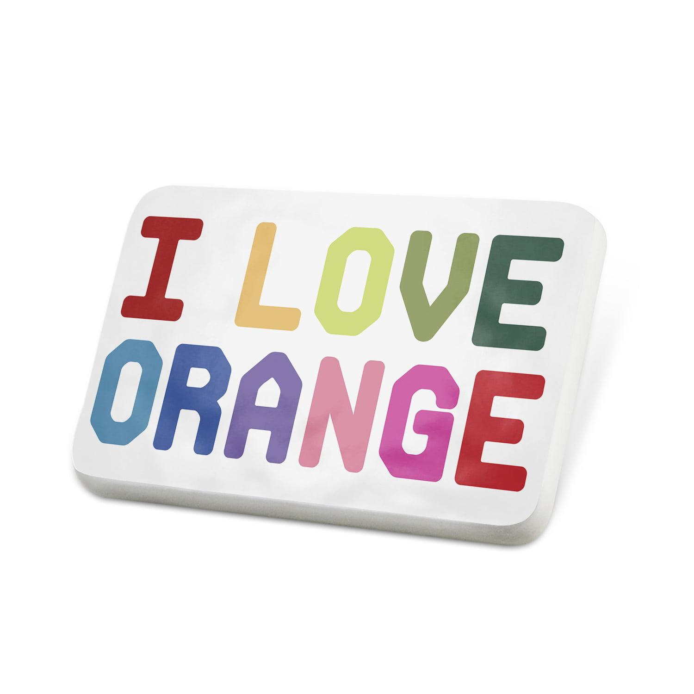 Porcelein Pin I Love Orange,Colorful Lapel Badge – NEONBLOND