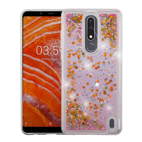 Nokia 3.1 Plus Phone Case BLING Hybrid Liquid Glitter Quicksand Sparkling Rubber Silicone Gel TPU Protective Hard Waterfall Cover PINK Stars Phone Case Cover for Nokia 3.1 Plus