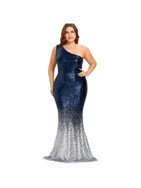 76a151f0e64 Product Image One Shoulder Sleeveless Sequined Bodycon Mermaid Hem Plus  Size Dresses For Women