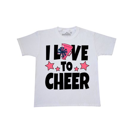 I Love To Cheer with O being Replaced by Megaphone and Pom Poms Youth T-Shirt for $<!---->